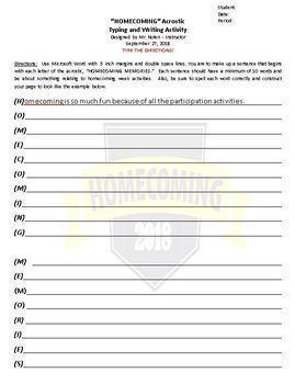 Homecoming  Acrostic  Worksheet