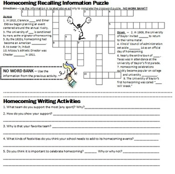 Homecoming Activities - chunked reading, writing, vocabulary, etc. (worksheets)