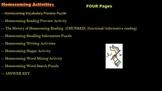 Homecoming Activities - chunked reading, writing, vocabula