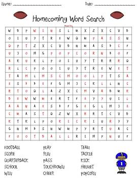 Homecoming Football Word Search