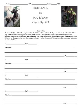 Homeland by R.A. Salvatore Unit, Chapter(s) 1 Worksheet/Assessment
