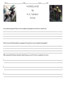 Homeland by R.A. Salvatore Unit, Chapter(s) Prelude Worksheet/Assessment