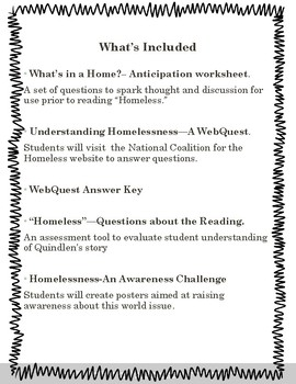 Homelessness- An Activity Pack to accompany Anna Quindlen's Homeless