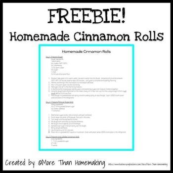 Homemade Cinnamon Rolls Lab FREEBIE
