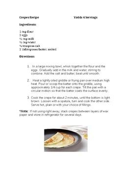 Homemade Crepes Recipe
