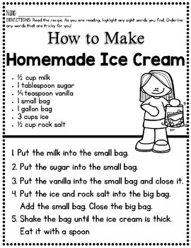 Homemade Ice Cream {Sequence and Retelling Pack}