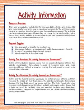 Homeostasis Activities