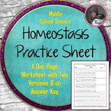 Homeostasis Practice Worksheet or Homework Assignment