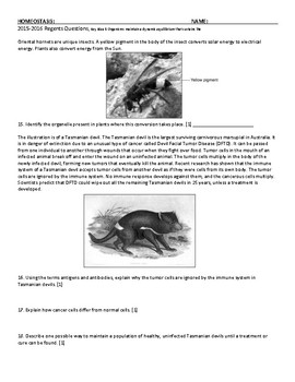 Homeostasis Living Environment Regents Review