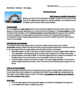 Homeostasis Reading Comprehension