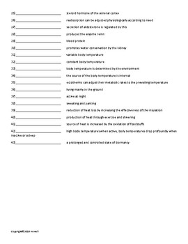 Homeostasis Vocabulary Quiz or Worksheet for Zoology