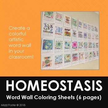 Homeostasis Word Wall Coloring Sheets (6 designs)