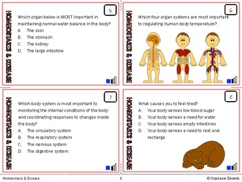 Homeostasis, Immunity and Disease Task Cards (Differentiated and Tiered)
