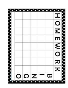 Homeowrk Bingo Printable (Classroom Management)