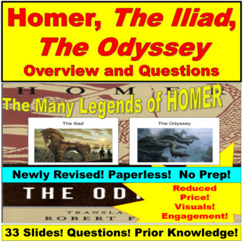Homer, Iliad and Odyssey PowerPoint and Questions