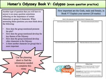 Homer's Odyssey – Book V: Calypso (Exam practice questions)