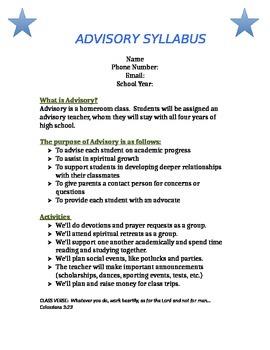 Homeroom / Advisory Syllabus (Christian School)