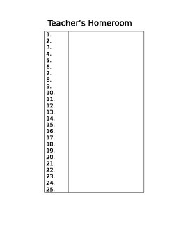 Homeroom Roster Template