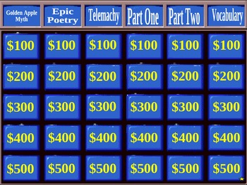 Homer's The Odyssey Jeopardy Game