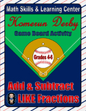 Baseball Math Skills & Learning Center (Add & Subtract Like Fractions)