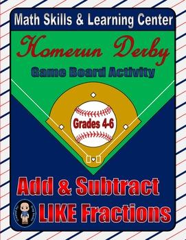Baseball Math Skills & Learning Center (Add & Subtract Like Fractions)