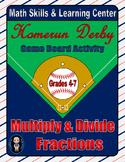 Baseball Math Skills & Learning Center (Multiply & Divide Fractions)