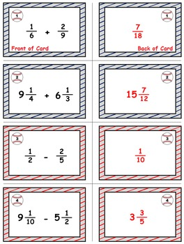 Baseball Math Skills & Learning Center (Add & Subtract Unlike Fractions)