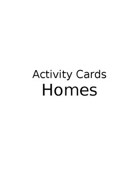Homes Around The World- Activity Cards