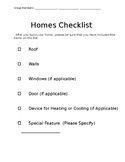 Homes Around The World- Checklist