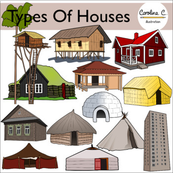Types of Houses Clip Art by Caroline C Illustration | TpT