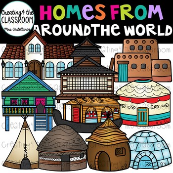 Homes From Around the World Clip Art  {Homes Clipart}