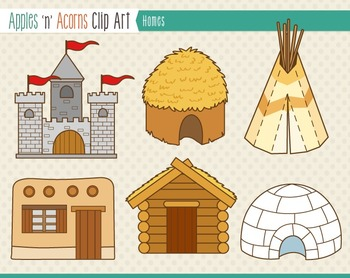 Homes for People Clip Art - color and outlines