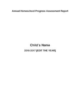 Homeschool Annual Progress Report Template