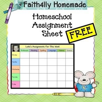 Homeschool Assignment Sheet_FREE