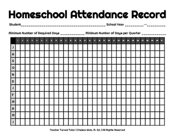 homeschool attendance record by teacher turned tutor tpt