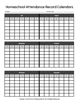 graphic relating to Free Printable Homeschool Record Keeping Forms named Homeschool Attendance Worksheets Education Elements TpT