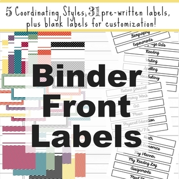 Homeschool Binder Front Labels - All Subjects AND Blank!