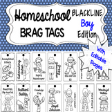 Homeschool Brag Tags with Editable Pages BOY BLACKLINE Edition