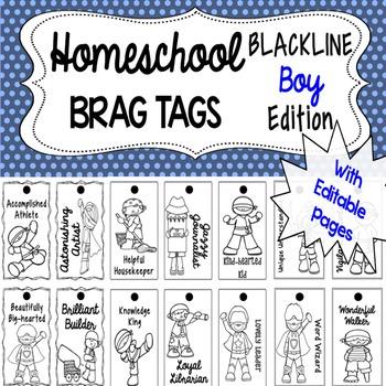 Homeschool Brag Tags with Editable Pages BOY BLACKLINE Edition