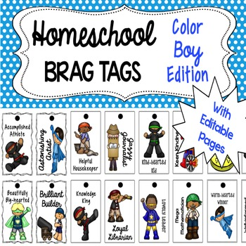 Homeschool Brag Tags with Editable Pages BOY Color Edition