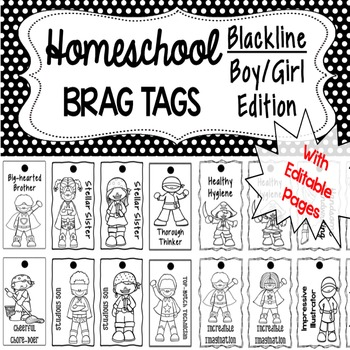 Homeschool Brag Tags with Editable Pages - Blackline BOY/GIRL Edition