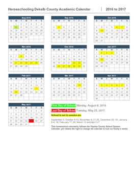 Homeschool Calendar-Dekalb County, GA