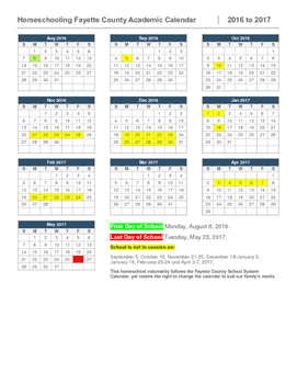 Homeschool Calendar-Fayette County, GA