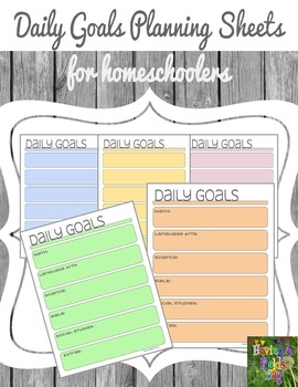 Homeschool Daily Goals Planning Sheets