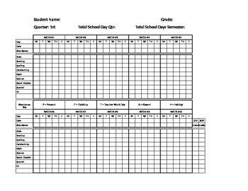 Homeschool Grades and Attendance Spreadsheet