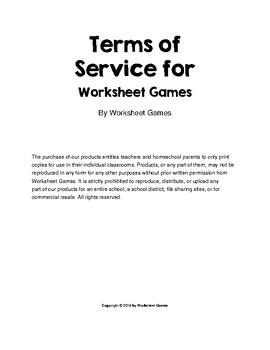 Worksheet Games TOS