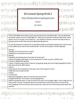 Homeschool K5 Lessons Spring Week 2 Wildlife Park