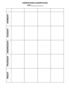 Homeschool Lesson Plans - Blank