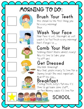 Homeschool Morning to do Resposibility chart
