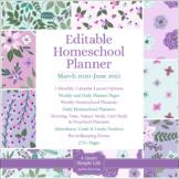 Homeschool Planner 2020-2021 – Editable – Lavender & Teal Flowers